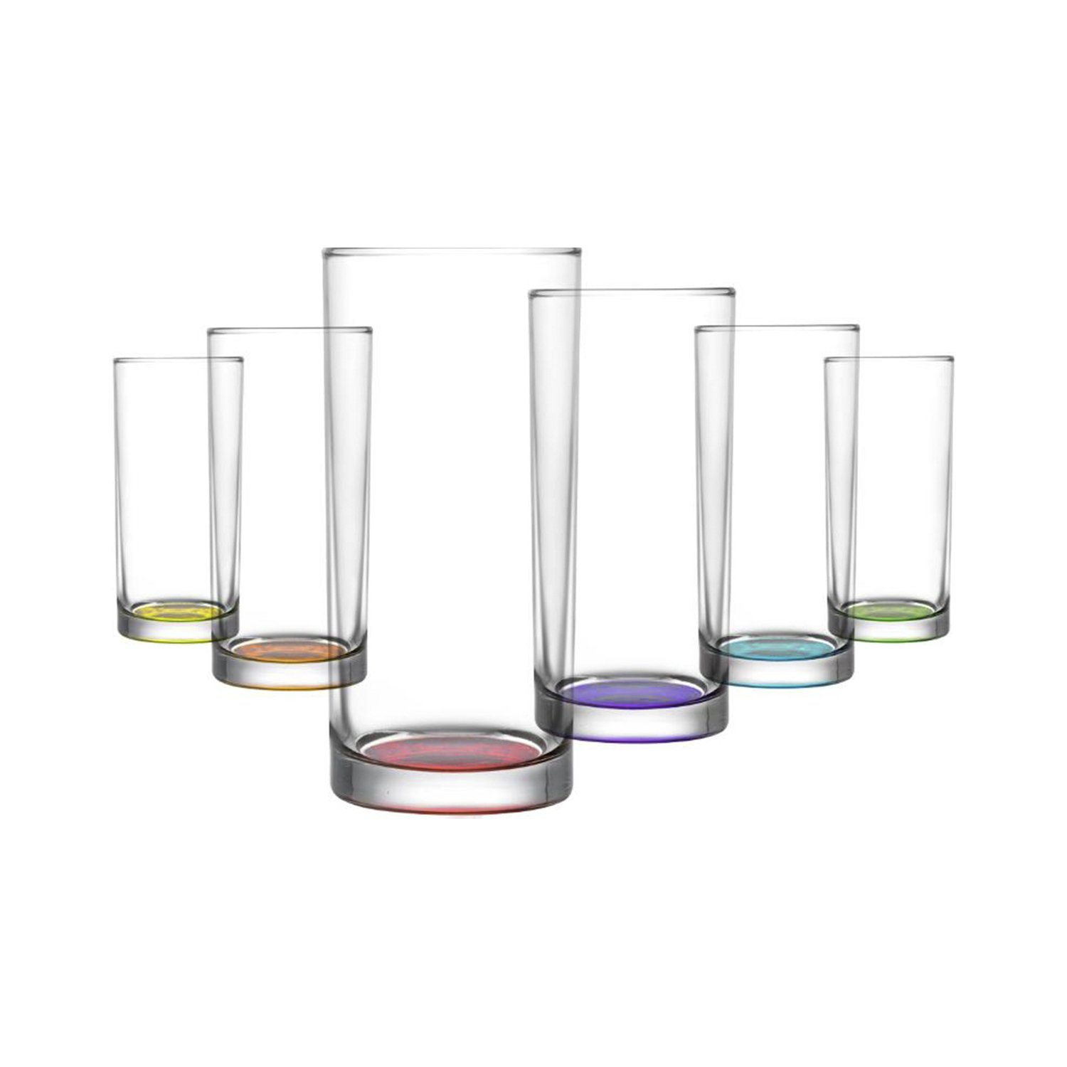 LAV Colored Juice Cocktaill Classic Design Glass, Beer, Mojito Tumbler, Set of 6, Lovely and Classic