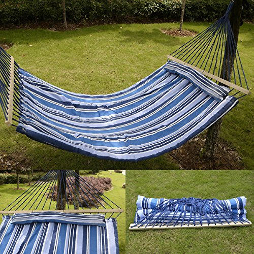 Hammock Spreader Bar Hang Bed Heavy Duty New Double Size Portable Quilted Fabric with Pillow Hammock Lounger Chaise Arc Stand Air Porch Outdoor Backyard Tree Rope Foldable by 'Unknown