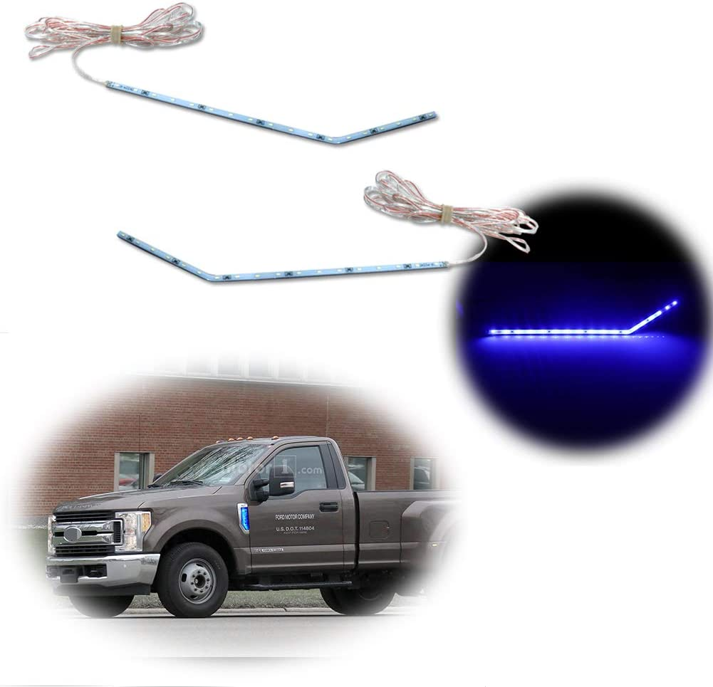 Adiil Ice Blue LED Background Illumination Kit Compatible With 2017-2020 Ford F250 F350 F450 Super Duty Side Fender Chrome Emblem