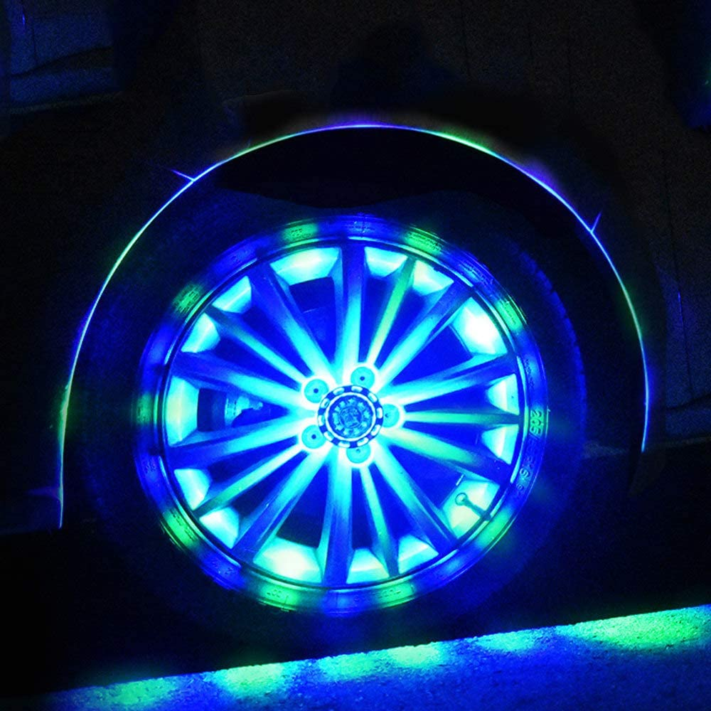ZH-VBC Tire Lights Led Car Waterproof Solar Led Flashing Light Car Tire Decoration Fitting Hot Wheel Safety Warning Light RGB Flashing Colorful Exterior Lights 4pcs