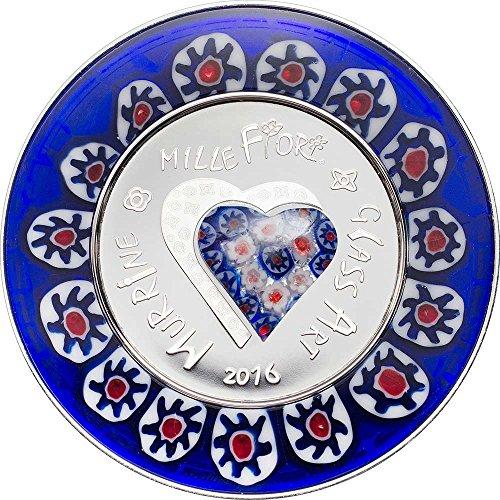 2016 CK Glass Art PowerCoin MURRINE MILLEFIORI Venetian Murano Silver Proof Coin 5$ Cook Islands 2016 Proof