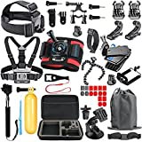 SmilePowo Gopro Accessory Kit for GoPro Hero 6 - 5 Black - Hero (2018) - Hero Session - 5 - 4,3 - GoPro Fusion - SJCAN - XIAOMI - AKASO APEMAN DBPOWER - Lightdow - Campark - Action Camera Accessory Kit
