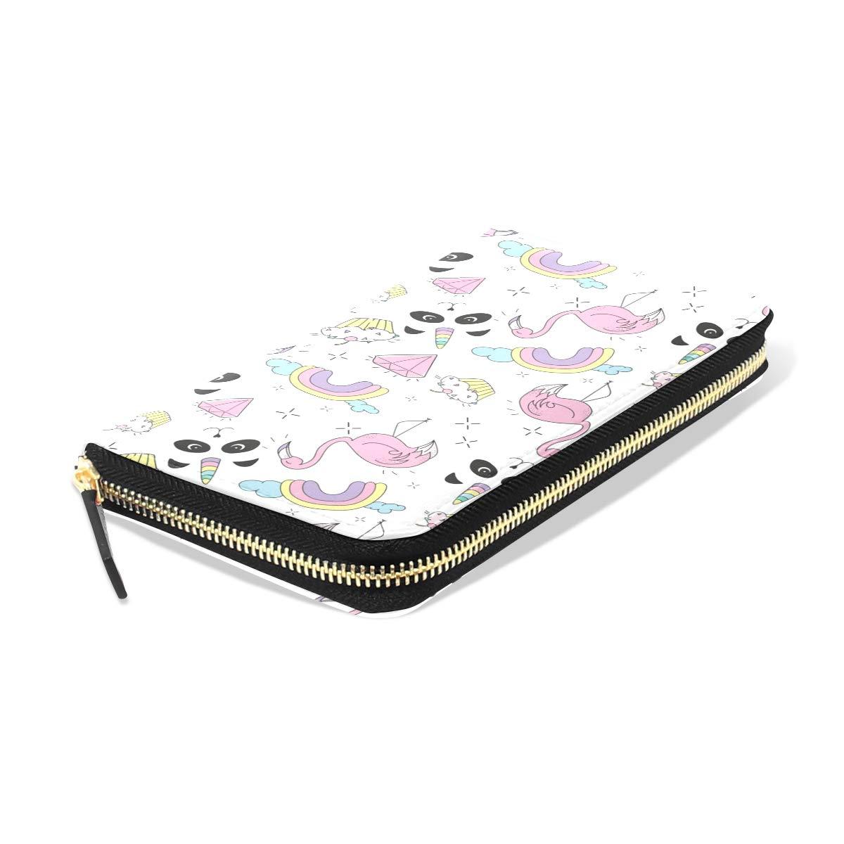 Women LeatherCreative Colorful Art FlamingoWallet Large Capacity Zipper Travel Wristlet Bags Clutch Cellphone Bag