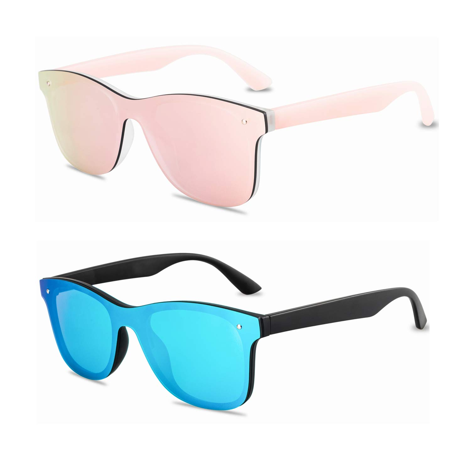 Amazon.com: Rimless Mirrored Lens One Piece Sunglasses UV400 ...