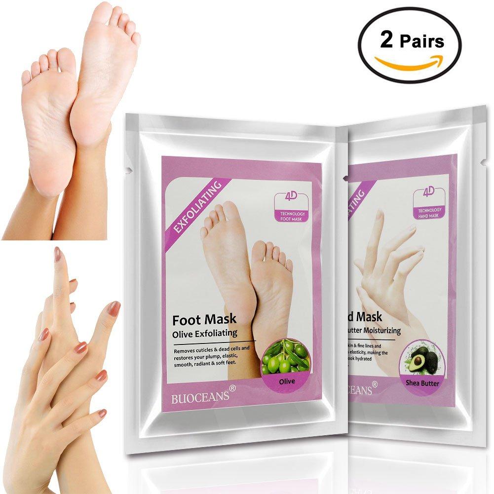 Foot Peel Mask, Moisturizing Gloves, Hand Mask Foot mask Set, Exfoliating Foot peeling Mask Hand mask For Baby Soft Skin, For Men & Women, Removes Dead Skin & Calluses In 2 Weeks, 2 pairs