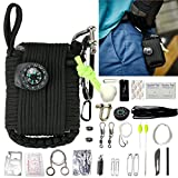 VXCAN Outdoor Emergency Survival Kit 30PCS Multifunction Outdoor Emergency Gear Kit Emergency First Aid Kit, Emergency Light, Fire Stater, Emergency Whistle