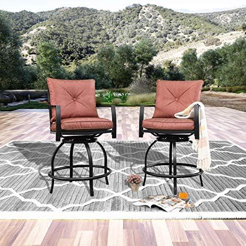 LOKATSE HOME Patio Stools Outdoor Swivel Bar Height Chairs Set of 2, 2, Red Cushion