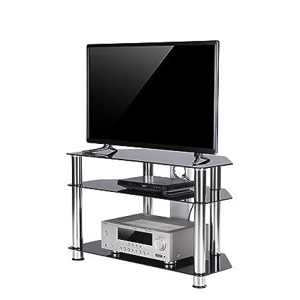 TAVR Furniture Mobile porta TV angolare in vetro temperato nero con ...