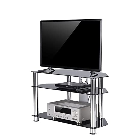 TAVR Furniture Mobile porta TV angolare in vetro temperato nero con ...
