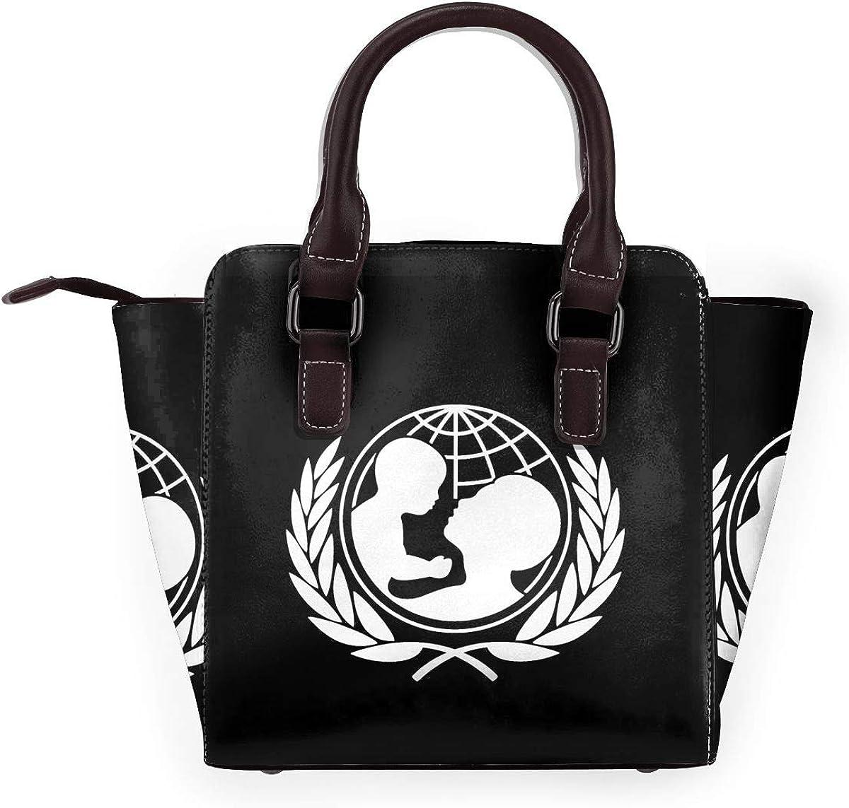 Ufo, borsa a tracolla da donna, in vera pelle, con rivetto Unicef