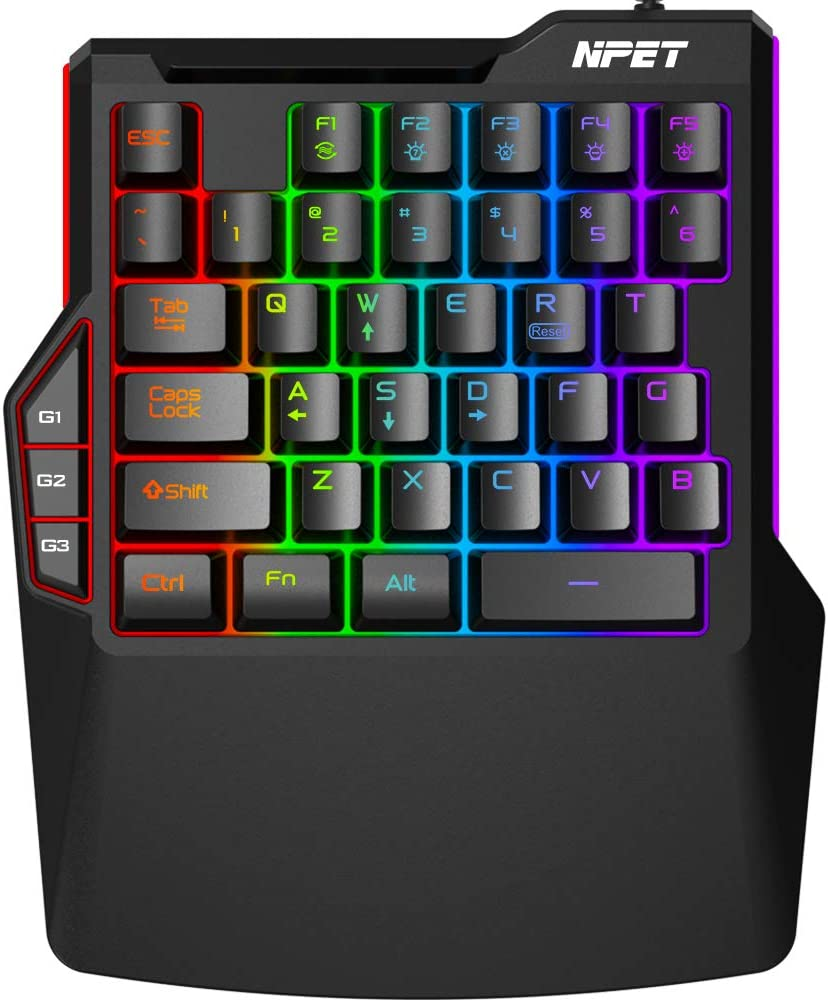 NPET T20 One-Handed Gaming Keyboard, RGB Backlit, Macro Keys, 38 Programmable Keys, Wrist Rest Support, Professional Ergonomic Rainbow Mechanical Feel Gaming Keypad for Desktop, Computer, PC