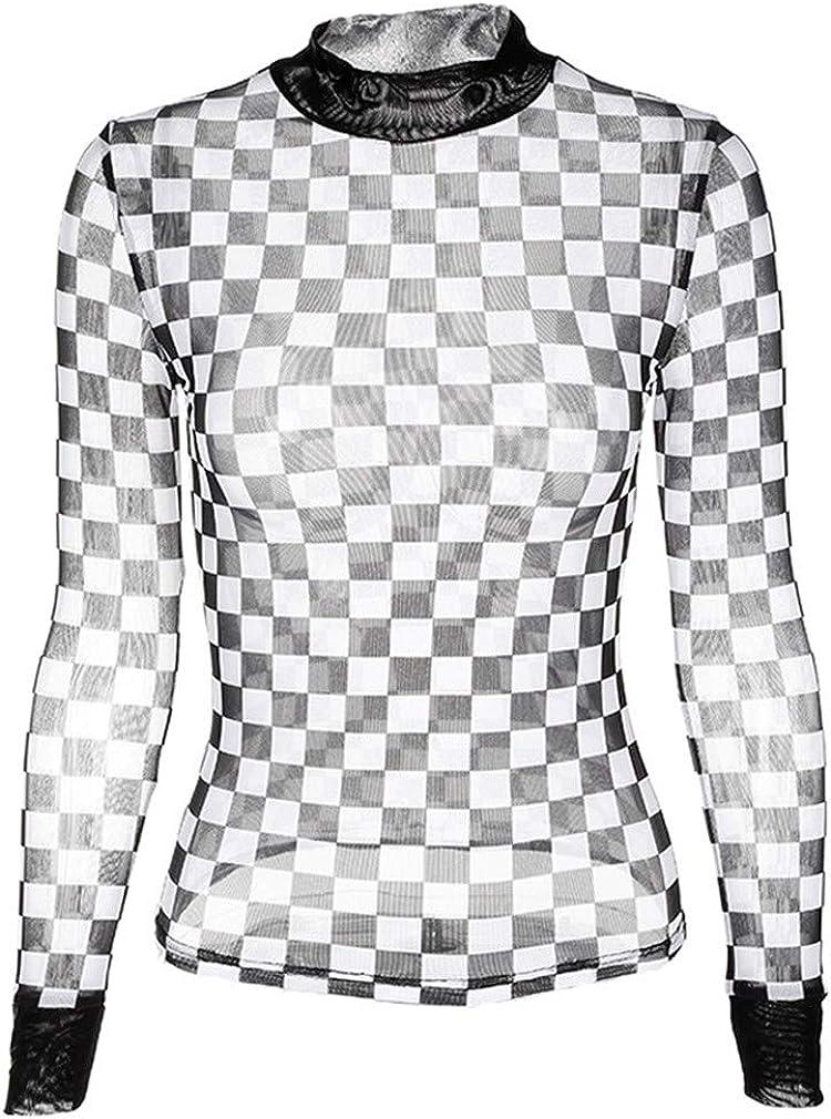 Dcola Top Transparente A Cuadros En Blanco Y Negro para Mujer, Top Sexy De Malla Elástica De Manga Larga Top Transparente De Tul Club Ropa Top Spring Bottoming Shirt: Amazon.es: Ropa y