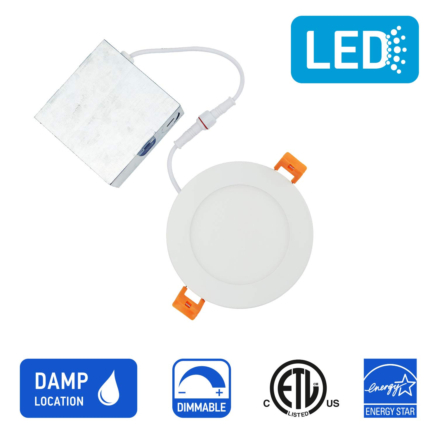 OSTWIN 4 inch LED Recessed PROFILE SLIM ROUND PANEL Light with Junction Box, Dimmable, 12W (90 Watt Replacement), 4000K (Warm White), 900 Lumens, No Can Needed, ETL and Energy Star Listed