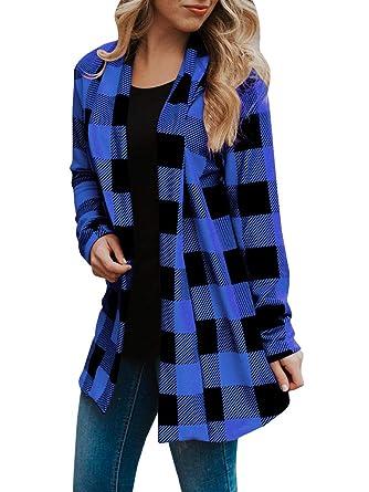 c3121b7375 Womens Buffalo Plaid Cardigans Long Sleeve Elbow Patch Draped Open Front  Cardigan Shirt Blue