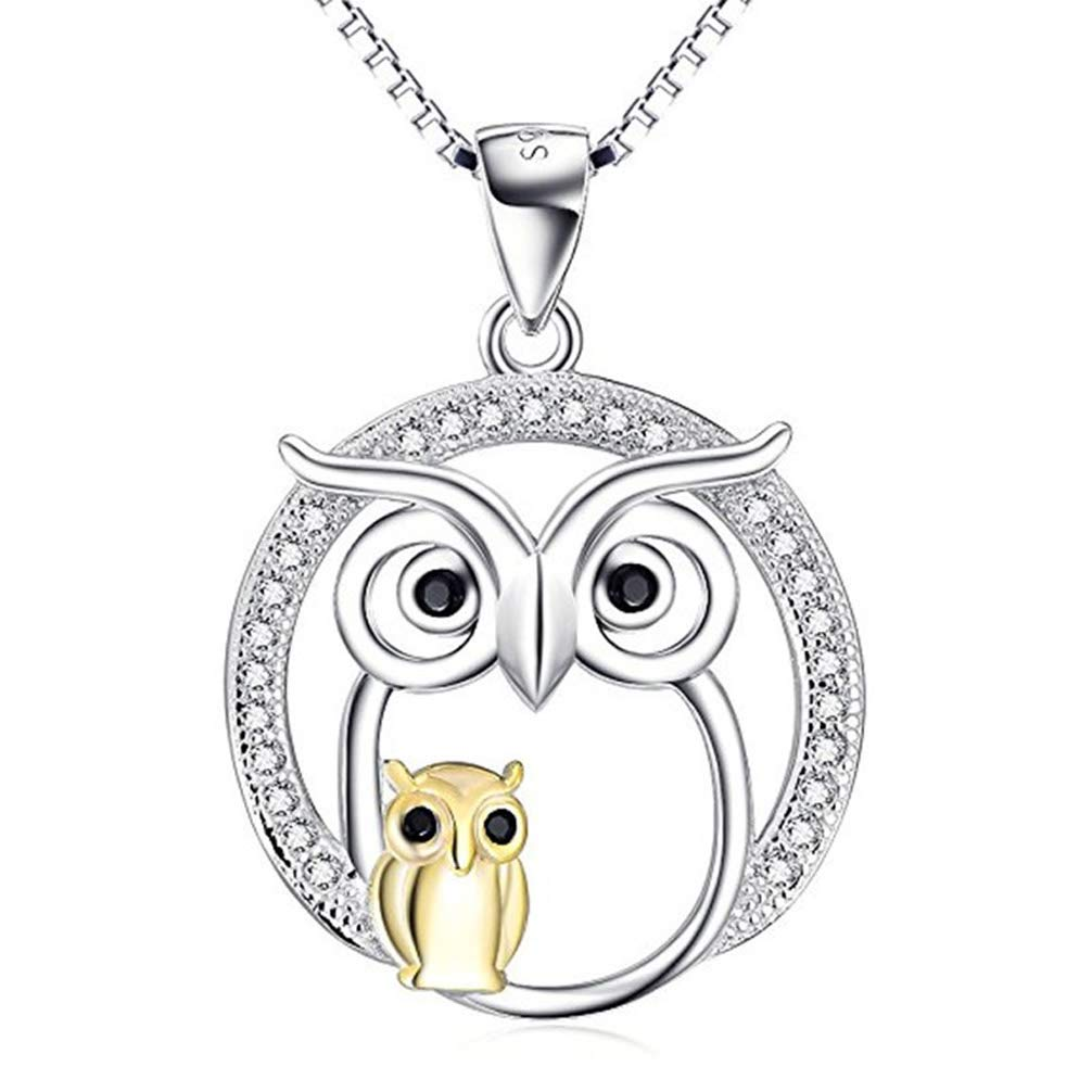 Women 925 Sterling Silver Cubic Zirconia Owl Mother Child Pendant Necklace Chain