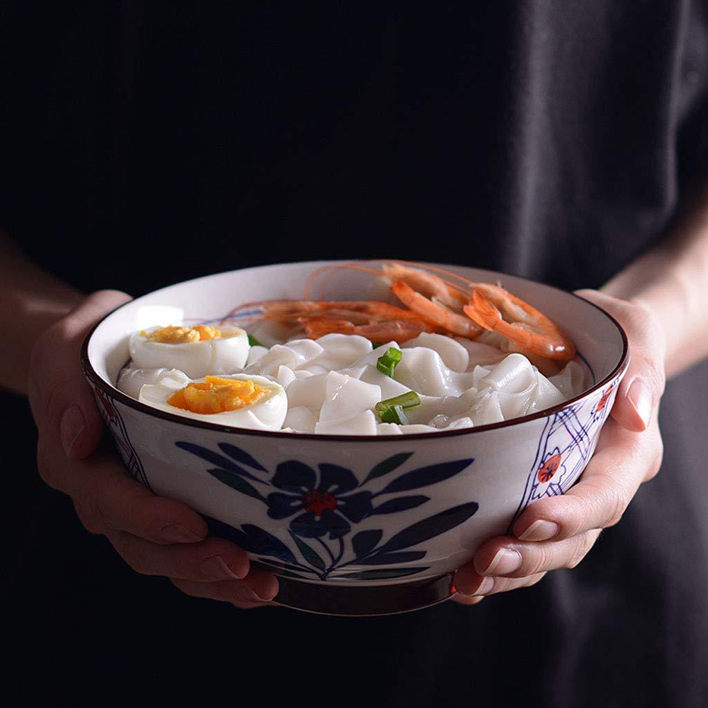 Happiness tableware Cuenco de cer/ámica Pintado a Mano de Estilo japon/és Cuenco de Sopa de Ramen Retro Creativo Cuenco de Ensalada de Gran Capacidad Vajilla para el hogar