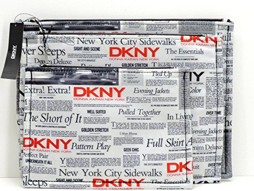 DKNY Black White Red Newspaper Printed 3-Piece Clutch Bag Set Cosmetic Makeup by DKNY