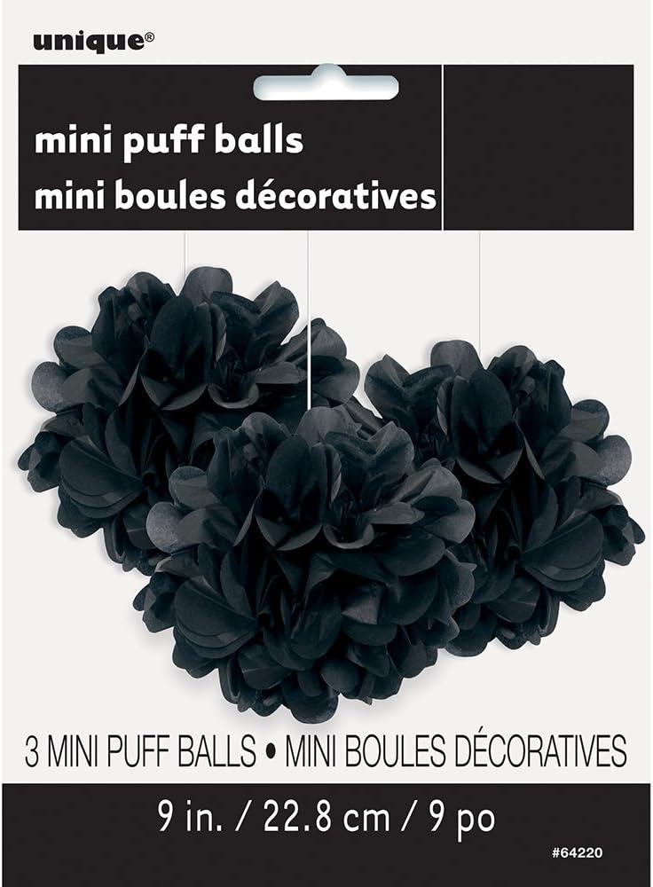 3ct 9 Small Black Tissue Paper Pom Poms