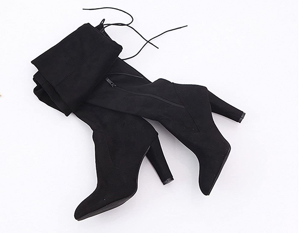 Lurryly❤Womens Fashion Casual High Heel Booties Over The Knee Slouchy Boots Shoes