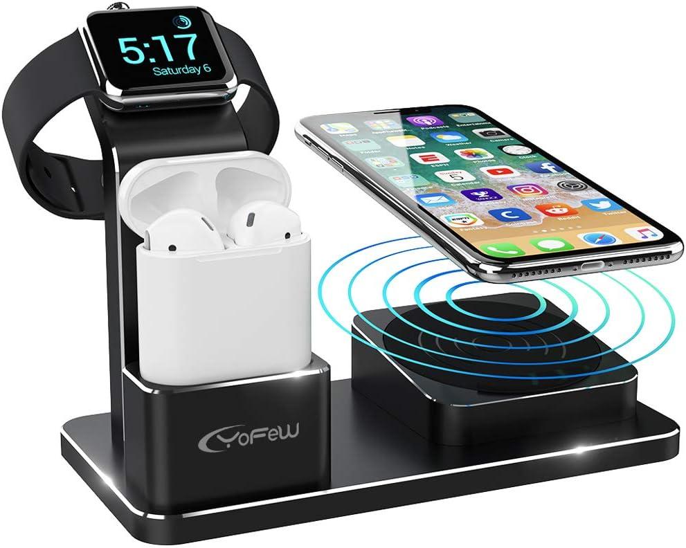 מעמד טעינה איכותי משולב טעינה אל חוטית לאייפון, Apple Watch ואוזניות AirPods