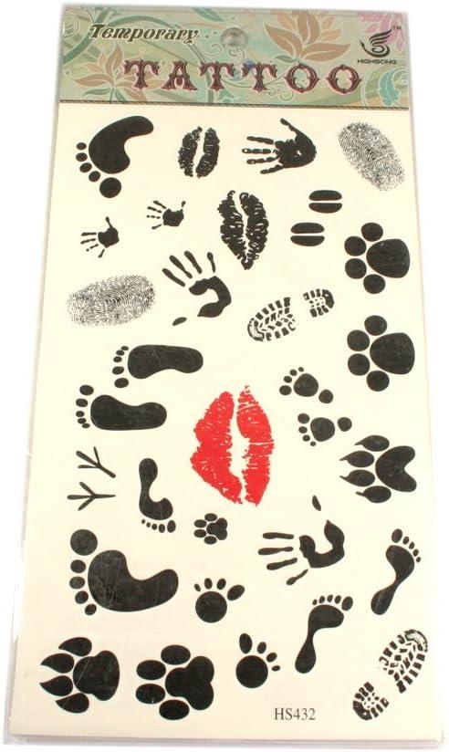 Tattoo con diversos motivos. Labios, huellas, manos pies: Amazon ...