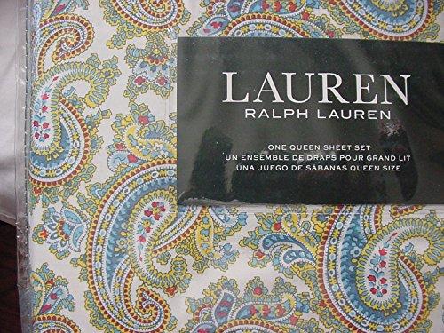Ralph Lauren Blue Red Yellow Green Paisley on White Sheet Set Queen - New Ralph Lauren Sheet