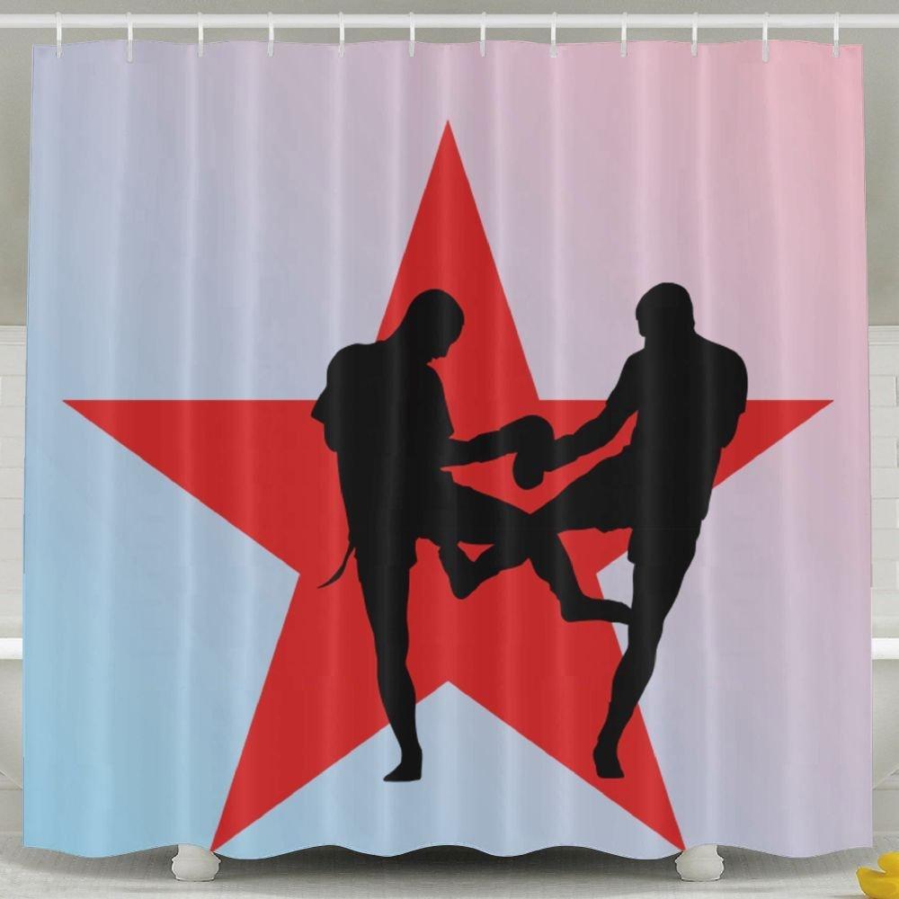 Arsmt Custom Shower Curtain With Hooks Muay Thai Red Eco-Friendly Bathroom Decor