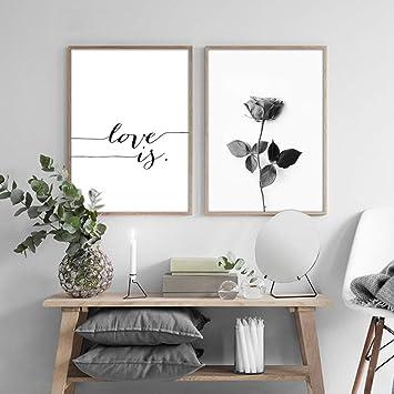 Nordic Ideas Set De 2 Affiches Rose Et Citation Tableau Decoration