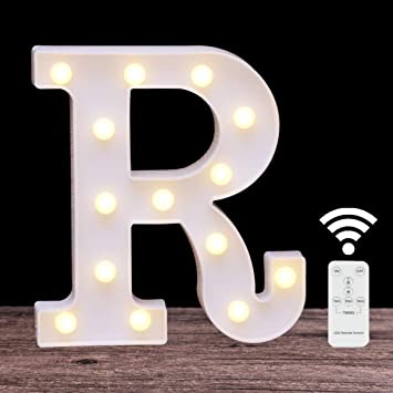 LED Wall Decor Letters Sign Lights with Romote Control,DIY Marquee 26 Alphabet Light for Kids Birthday Party Decor(letter R-Remote control)