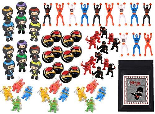 60 Piece Ninja Warrior Themed Birthday Party Favor Bundle Assortment Pack for 12 Kids]()