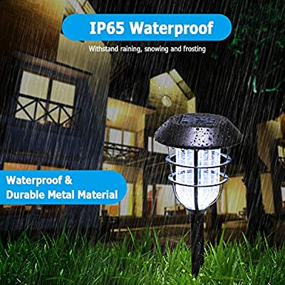 URPOWER Metal Solar Lights Outdoor Upgraded Bright Solar Pathway Lights Waterproof Auto On / Off Garden Lights Solar Powered Solar Landscape Lights for Lawn Yard Patio Path Driveway Cool White(4 Pack) : Garden & Outdoor