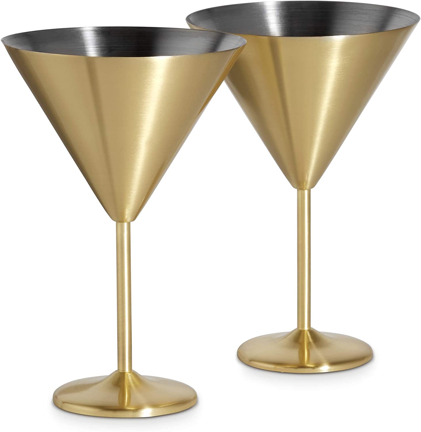 Amazon Com Vonshef 16oz Gold Martini Cocktail Glasses Brushed Gold Stainless Steel Set Of 2 With Gift Box Martini Glasses