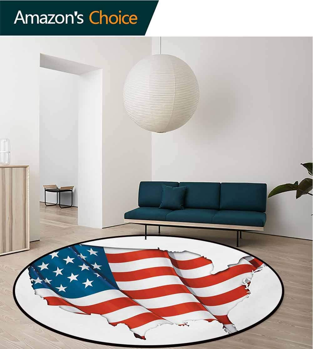 RUGSMAT World Map Round Rug,Graphic United States Flag American Federations Stars National Symbol Print Carpet Door Pad for Bedroom/Living Room/Balcony/Kitchen Mat,Diameter-47 Inch