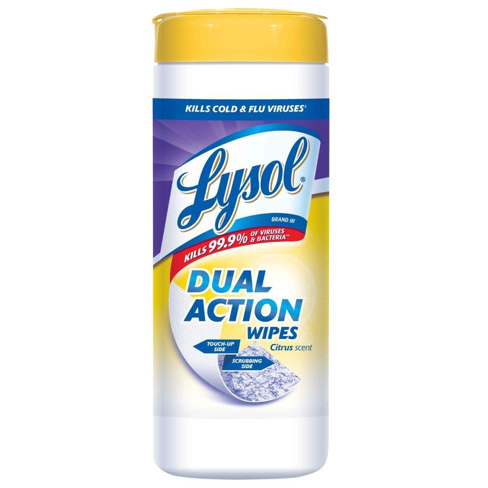 Lysol Dual Action Disinfecting Wipes, Citrus, 75ct (Pack of 6)