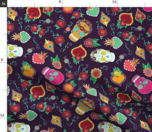 day of the dead Fabric - Sugar Skull Mexican Holiday Purple Dia De Los Muertos Day Of The Dead Halloween Mexico Skulls by Katebillingsley Printed on Petal Signature Cotton Fabric by the Yard]()