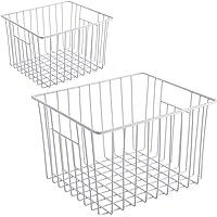 KIKIBRO Wire Storage Basket, Durable Metal Storage Organizer Bins with Handles for Kitchen Cabinets, Pantry, Freezer…