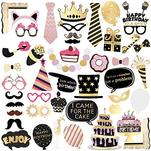 Unomor Birthday Photo Booth Props, Bronzing Rose Gold and Black Funny Happy Birthday Party Favors Supplies Photobooth Props Kit 48Pcs/Pack -