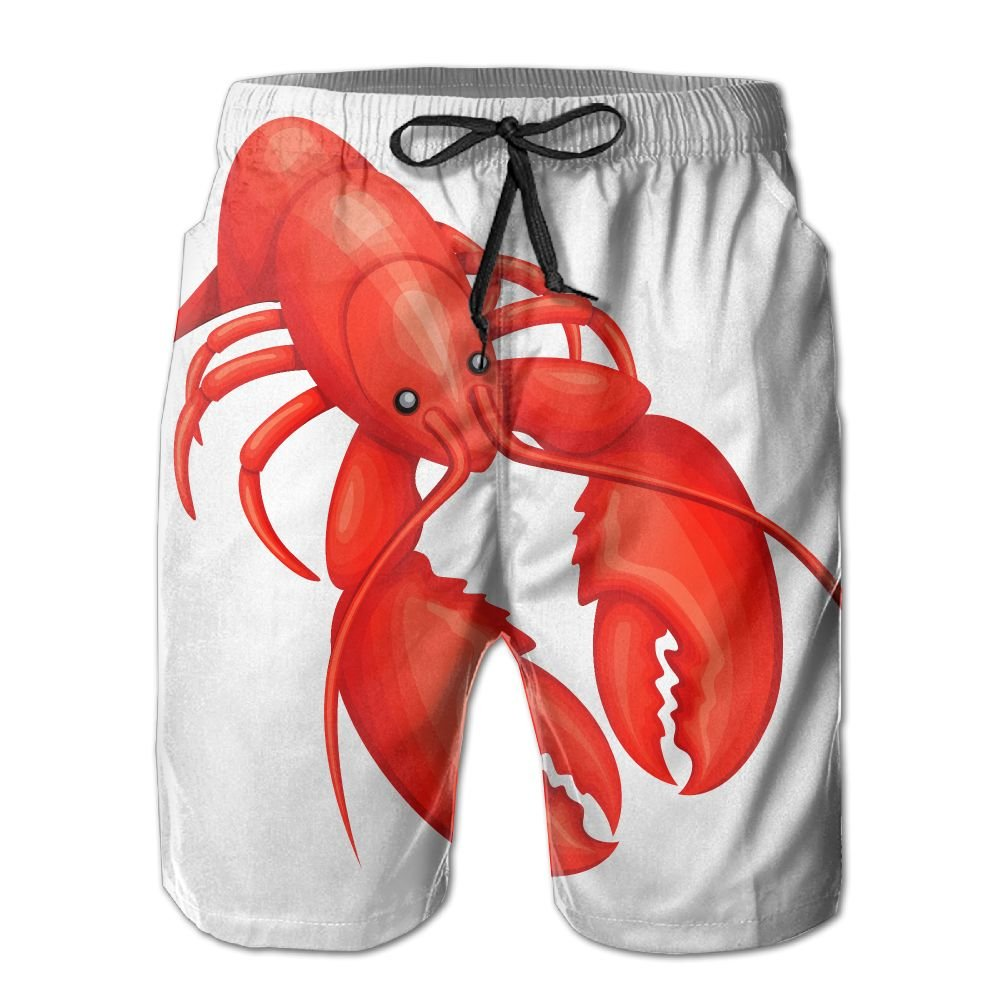 GYang Mens Beach Shorts Lobster Winter Fall Style Summer Printed Swim Breathable Quick-Drying Shorts Swim Trunks Boardshorts