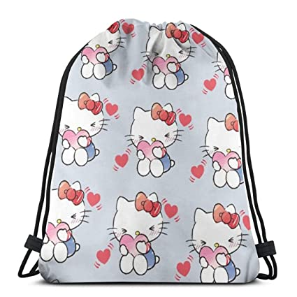 525143340 Image Unavailable. Image not available for. Color: MPJTJGWZ Classic  Drawstring Bag-Beautiful Hello Kitty Gym Backpack Shoulder Bags Sport  Storage ...