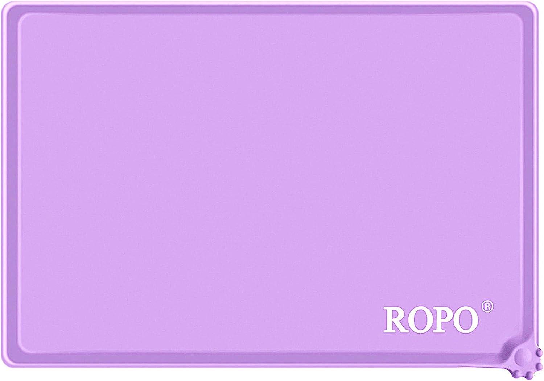 ROPO Dog and cat Food mat, pet Feeding mat, Silicone Dog and cat pet Feeding mat, pet Bowl mat(Purple)