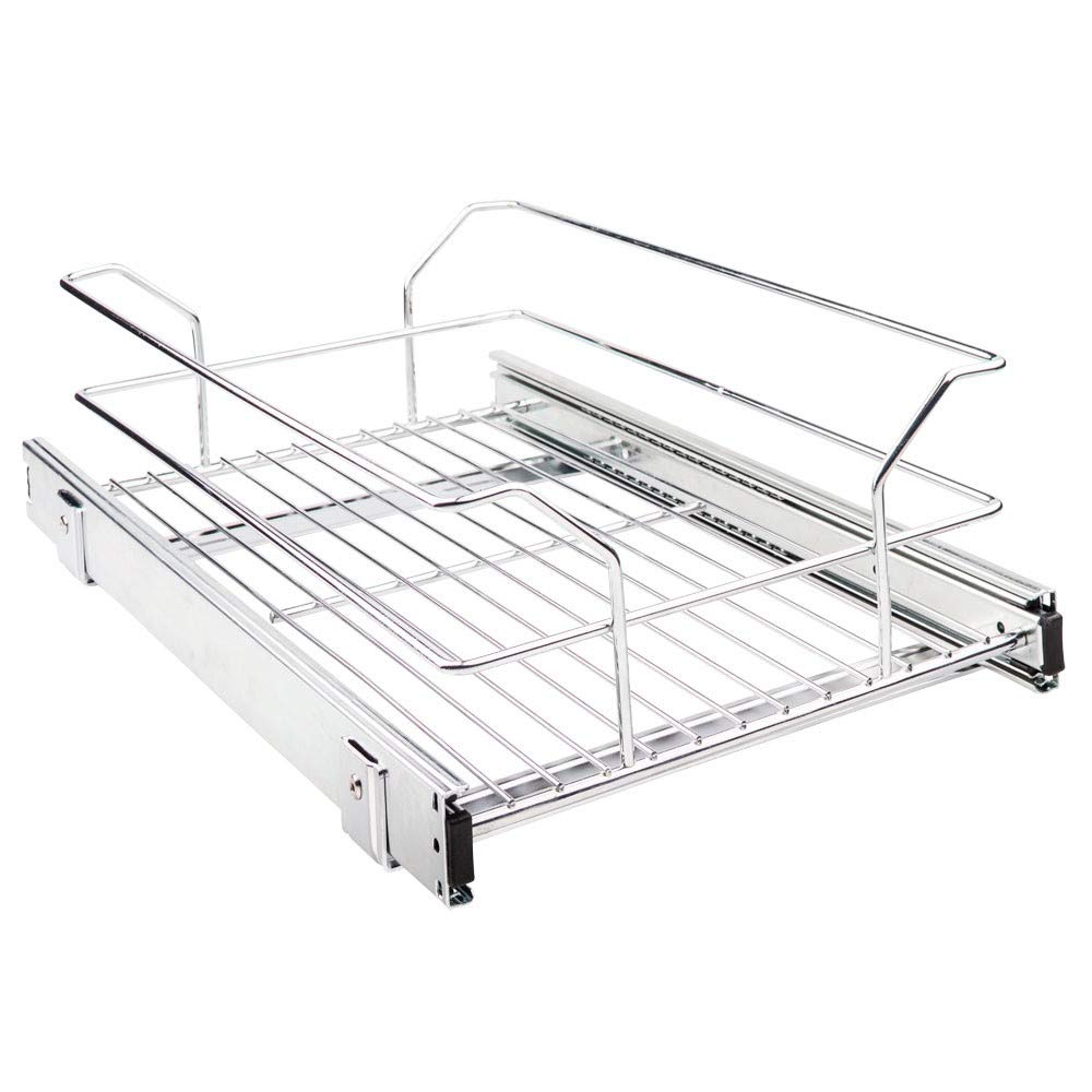 Hardware Resources Metal Basket Pullout Organizer for 15 Base Cabinet MBPO15-R