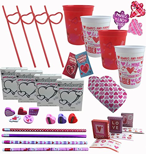 Valentines Day Party Pre-Filled Favor Gift Cups For Kids Classroom Exchange - (Set of 4)