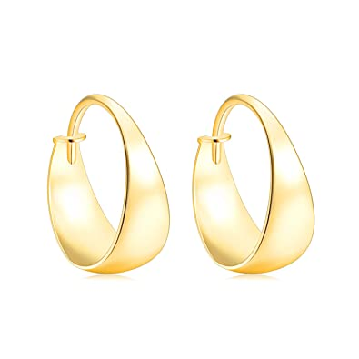 49990fa52f1e0 SISGEM Solid 18k Gold Hoop Earrings for Women Real Gold, Yellow Gold Hoops  for Girls