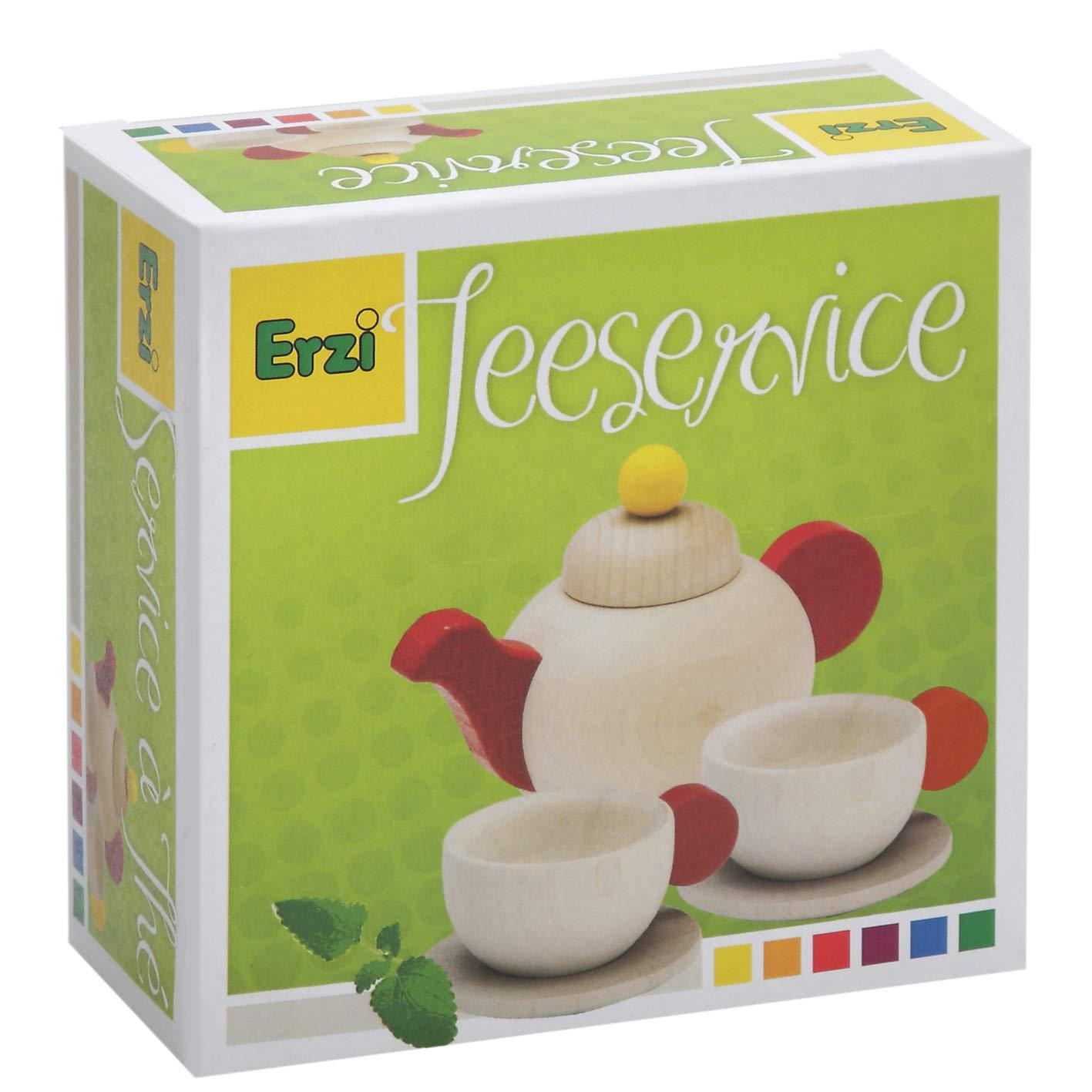 Natur Erzi 10640 12.3 X 6.5 x 12.2 cm Wooden Grocery Shop Tea Set Holzspielzeug farbig lackiert