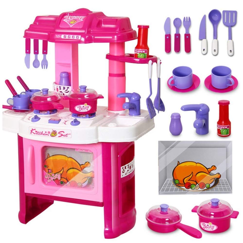 Velocity Toys Deluxe Beauty Kitchen Appliance Cooking Play Set 24'' w/ Lights & Sound
