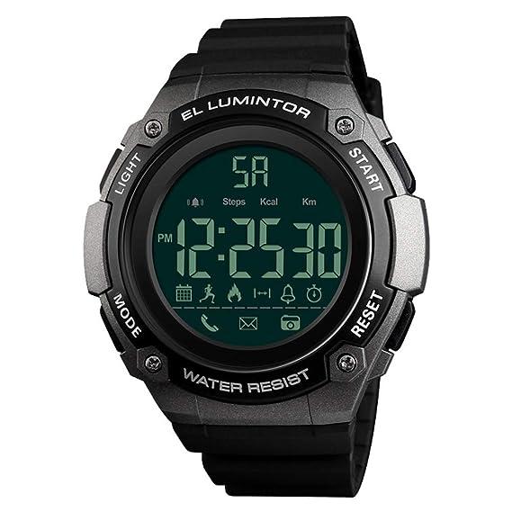 AchidistviQ-Outdoor - Reloj Inteligente Digital con Alarma de Disparo y recordatorio de Llamadas, Resistente al Agua, Bluetooth, Titanio: Amazon.es: Relojes