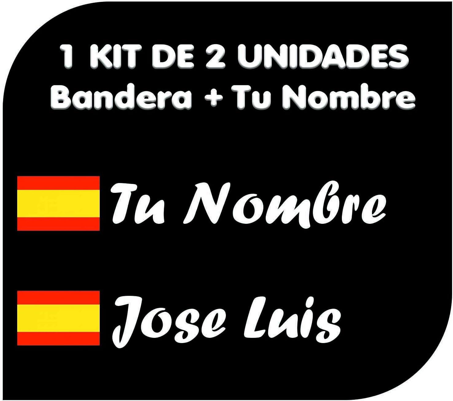 Pegatina Vinilo Bandera España + tu Nombre - Bici, Casco, Pala De Padel, Monopatin, Coche, Moto, etc. Kit de Dos Vinilos (Blanco): Amazon.es: Coche y moto