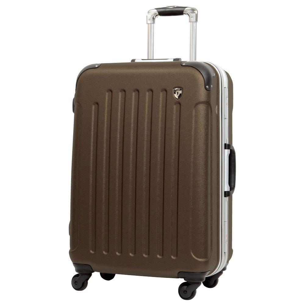 [グリフィンランド]_Griffinland TSAロック搭載 スーツケース 軽量 アルミフレーム エンボス加工 newTSA1037-1 フレーム開閉式 B071X43YXC S(小)型|ブラウン ブラウン S(小)型