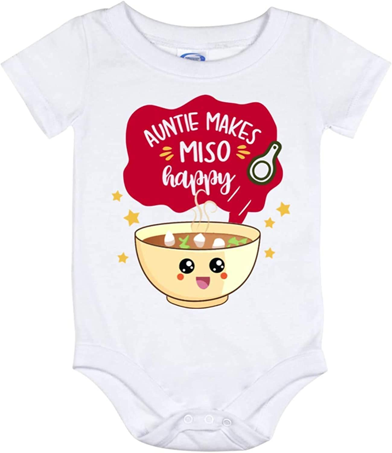 BYRON HOYLE Baby Romper Auntie Makes Miso Happy Noodle Food Pun Baby Bodysuit Newborn Outfit