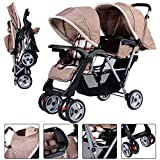 Gracelove Foldable Twin Baby Double Stroller Kids Jogger Travel Infant Pushchair (Gray)